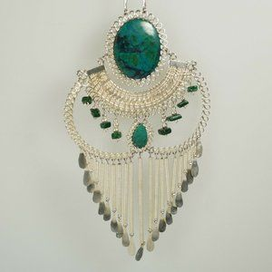 Ethnic Silver Tone Green Fringe Boho Necklace